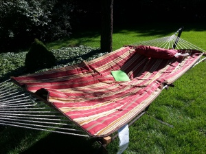 Beautiful day on the hammock, enduring the trash talk of friends on FB