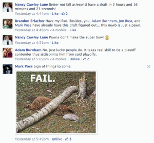Screenshot from Facebook of the comments that kept me from my research on draft day.