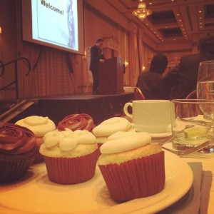 Cupcakes or a speech? Marshall's FB post during the banquet.