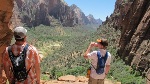 Jack and Evan taking in the view on our ascent up to Angel's Landing in Zion National Park. -June 17, 2014